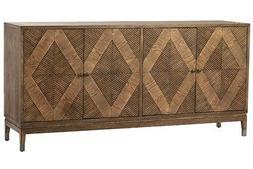 """73"""" Long Claudio Sideboard Natural Solid Wood Four Pattern D"""