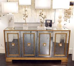 """74"""" Horchow Mirrored Glass & Gold Felix Largo Credenza Sideb"""