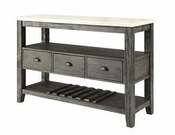 Acme Merel Server With White Marble And Gray Oak 70169