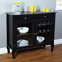 Black Dining Room Buffet Sideboard Server Cabinet with Glass
