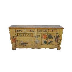 Chinese Distressed Yellow Oriental Flower Graphic TV Console