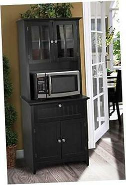 Framed Glass Doors and Drawer in Black kitchen buffet with h