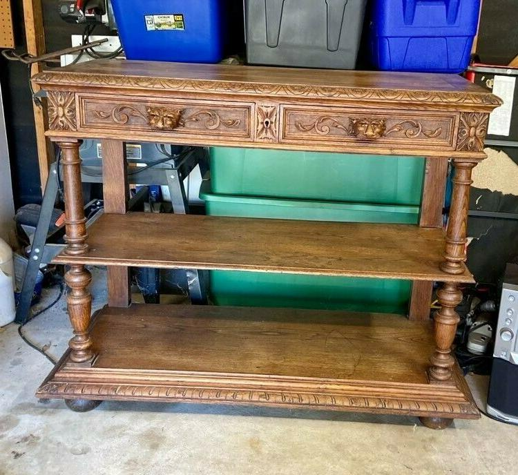 1890s henry ii antique french carved oak