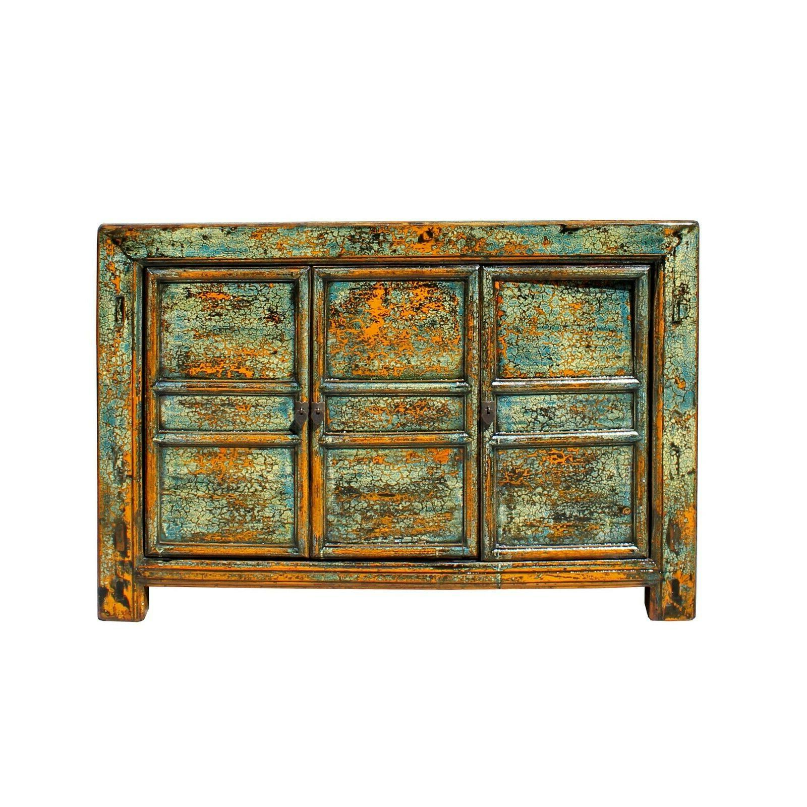 chinese distressed teal blue green sideboard console