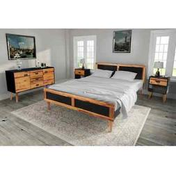 vidaXL Solid Acacia Wood Bed Frame Side Cabinet Nightstand S
