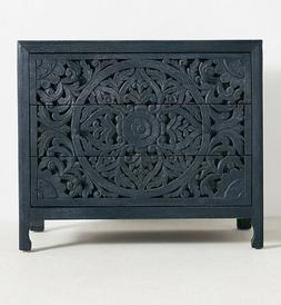Solid wooden hand carved black textured sideboard with drawe