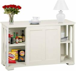 Traditional Sideboard Buffet Storage Cabinet Sliding Doors D