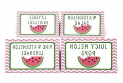 watermelon food tent buffet place cards girl